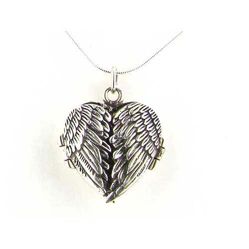 Luxury Ladies Hallmarked Sterling Silver Hinged Locket Pendant with opening Angel Wings on 18' Sterling Silver Chain Necklace