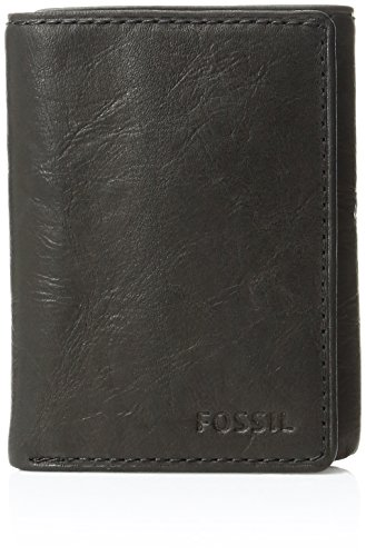 Fossil Men's Ingram Leather Trifold with Id Window Wallet, Black