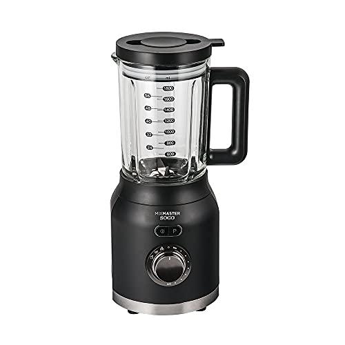 Sogo Mix Master Batidora de vaso, Licuadora americana de 1200W con jarra de cristal de 1.6L, cuchilla de 6 hojas de acero inoxidable, Color: Negro
