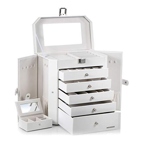 ROULING GIFT Schmuckkasten abschließbar mit Spiegel 5 Schublade und Mini-Box Schmuckkästchen LZG221 (weiß)