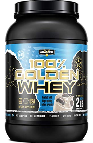 Maxler 100% Golden Whey Protein - 25g of Premium Whey Protein Powder per Serving - Pre, Post & Intra Workout - Fast-Absorbing Whey Hydrolysate, Isolate & Concentrate Blend - Cookies & Cream 2 lbs