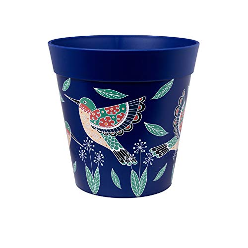 Hum Flowerpots, blue hummingbird plant pot, outdoor/indoor plastic planter...