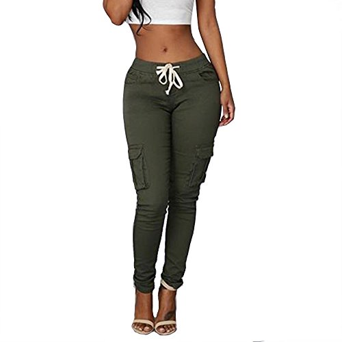 Women's Solid Color Stretch Cargo Joggers Casual Pockets Drawstring Skinny Pants Army Green