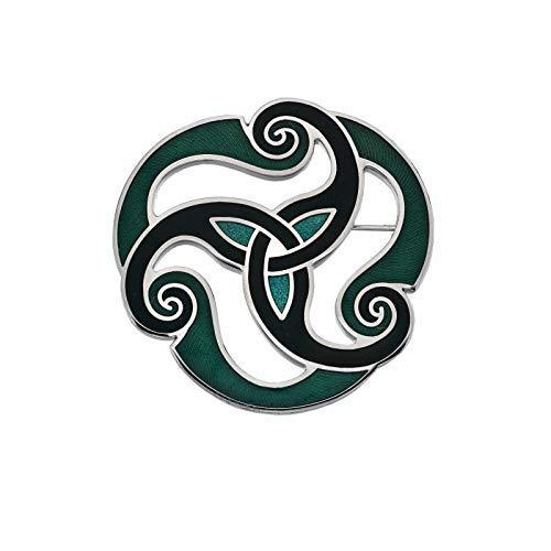 Sea Gems Verde Celta Trisquel Broche Bañado en Plata Empaque de Regalo
