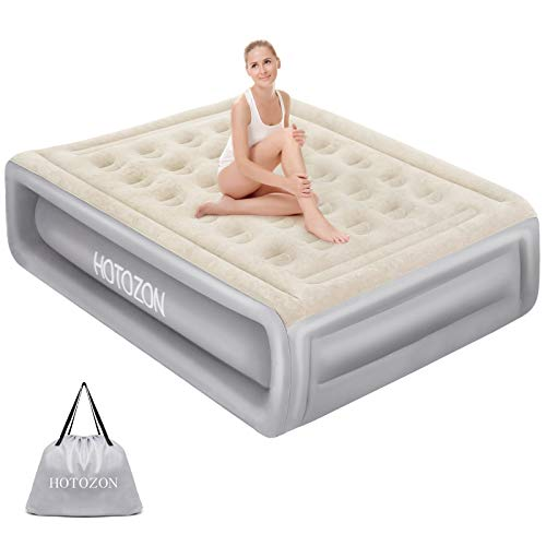 HOTOZON Air Mattress with Built-in Pump Queen Size, Inflatable Blow Up Air Bed with Carry Bag for Home Camping Travel, Raised Elevated Double Luxury Airbed, Foldable & Portable Air Mattresses Grey