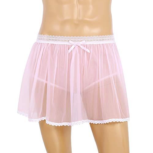Männer Erotik Kleidung Männer Sissy-Rock-Schlüpfer-reizvolle Wäsche-elastische Spitze-Taillen-See durch schiere gekräuselte Sissy DWT kurzen Rock Sissy Panties ( Color : Pink , Size : M )