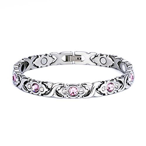 Tobillera magnética de cristal rosa grande para mujer con imanes, alivio del dolor, regalo de salud para mamá, esposa (tobillera, plateada)