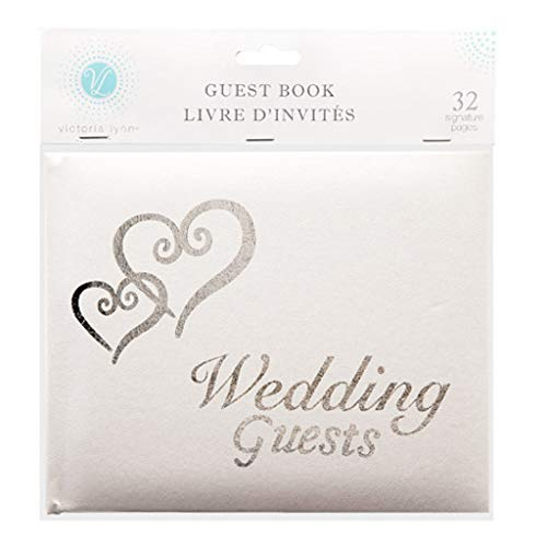 Wedding Bridal Guest Book White with Silver Hearts 32 Pages