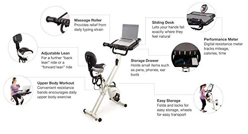 FitDesk 2.0 Desk Exercise Bike with Massage Bar