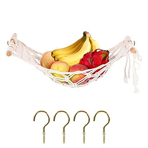 Gukasxi, amaca da appendere alla frutta, macramè, per cucina, salvaspazio e cucina, con anello in legno macramè, bianco, B (bastoncini di legno)