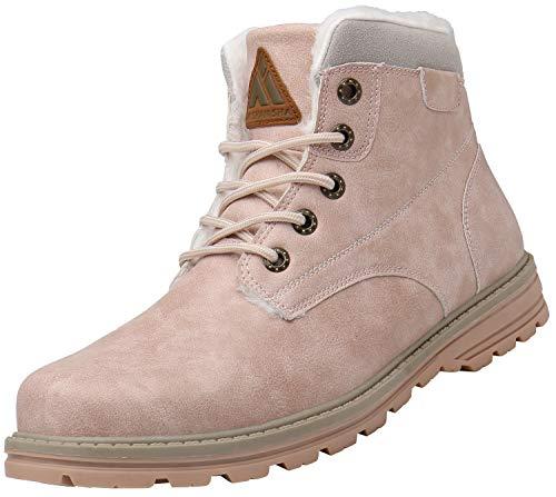 Mishansha Mujer Zapatos de Invierno Clasicas Calentitas Antideslizantes Botas de Nieve Adulto Unisex Moda Impermeables Cómoda Cuero Retro Botines Exteriores Paseo, Rosa 36