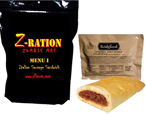 MRE Z-Ration (Zombie MRE) Custom Meals Ready to Eat! (MENU I - Italian Sausage w/Sauce Sandwich)