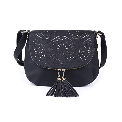 Boho Crossbody Bags for Women Large Size Soft Vegan Leather Over Shoulder Purses and Messenger Satchel Handbags,Multi Pockets,Black