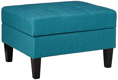 Christopher Knight Home Zahra Fabric Storage Ottoman, Teal / Dark Brown