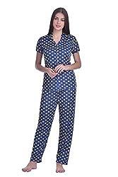 Adonia Womens Poly-knit Lycra Polka Dot Printed Night Suit