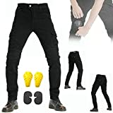 ZZJCY Summer Men Motorcycle Riding Jeans, Motocross Denim Pants with Removable Armor, Riding Cargo Pants with Copper Buttons and Pockets, Perfect for Motorcycle and Daily,Black,XL