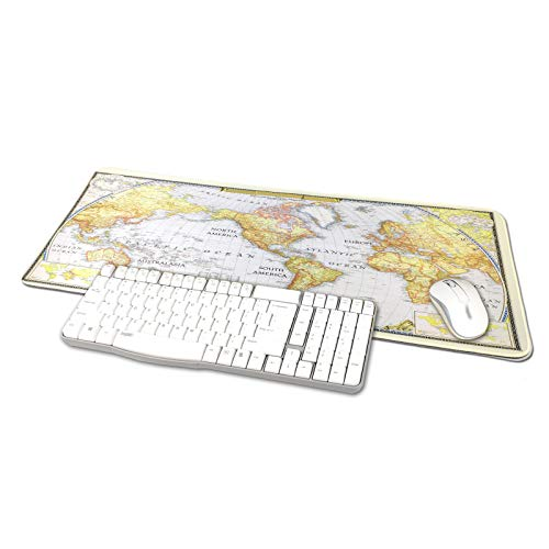 TRIPRO World Map Design Large Gaming Mouse Pad XXL Extended Keyboard Mat Desk Pad Big Mousepad,Size 31.5'x11.8',Water-Resistant,Non-Slip Base (NO.2)