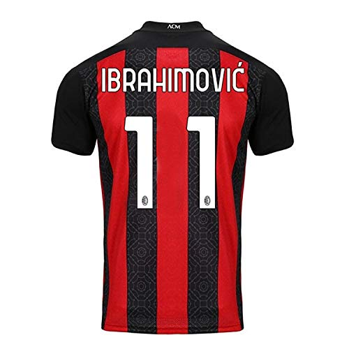zhonuofp AC Jersey #11 International Soccer Mens 2020-2021 Home Jersey T-Shirts Red/Black (Large)