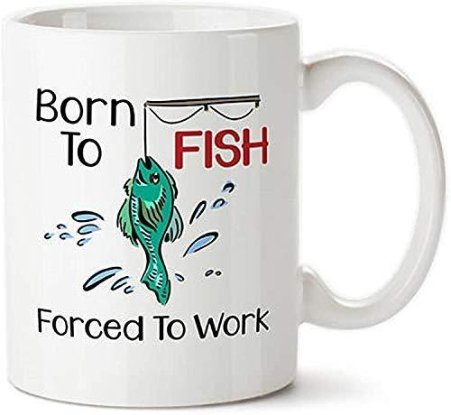 Taza de café, nacido para pescar forzado a trabajar, regalo de pesca, regalo de pescador, taza de pesca divertida, amor para pescar, regalo de actividades al aire libre, pasatiempo, taza de pesca, taz