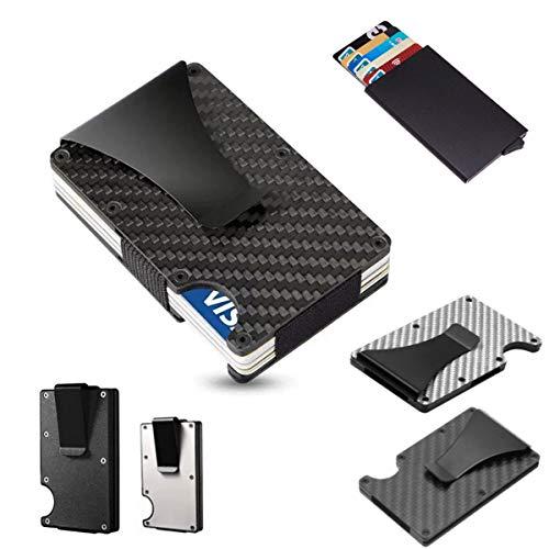 tobilu® Kreditkartenetui Geldbörse RFID Schutz Kartenhalter Geldklammer in Aluminium oder Carbon Schwarz & Silber (Aluminium Silber)