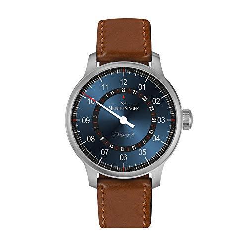 MeisterSinger Perigraph AM10Z17B - Reloj automático para hombre, esfera azul, correa de piel marrón