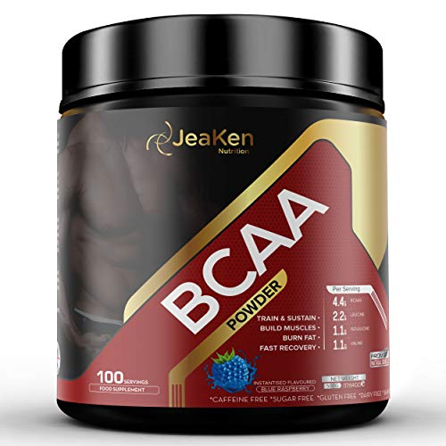 JeaKen - BCAA POWDER - Post Workout Muscle Recovery and Muscle Building Drink with Amino Acids Leucine Isoleucine and Valine - 4.4g BCAAs for Men and Women - 100 Servings Blue Raspberry 500G