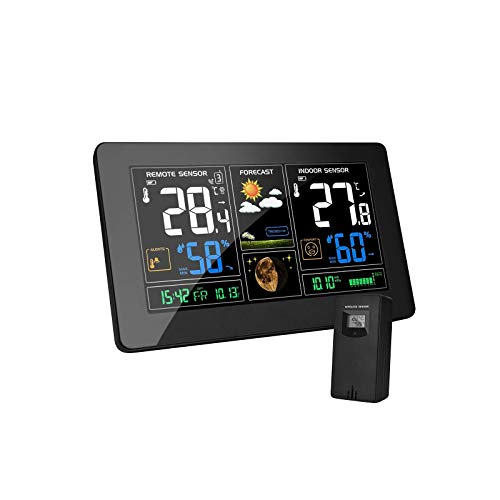 MOHOO Wetterstation funk mit außensensor Funkwetterstation Farbdisplay Digital Thermometer Hygrometer Regenmesser und Uhrzeit Anzeige für Innen und Außen Zuhause Büro