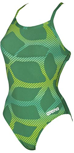 Arena Women's Challenge Back MaxLife One Piece Athletic Training Swimsuit, Spider Kelly Green, 34