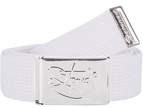 2Stoned Hosengürtel Schmal Weiß Chromschnalle Classic, 3 cm breit, Textil-Gürtel für Damen und Herren