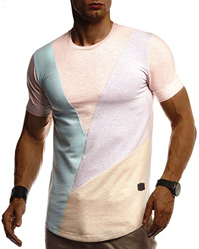 Leif Nelson Herren Sommer T-Shirt Rundhals Ausschnitt Slim Fit Baumwolle-Anteil Cooles Basic Männer T-Shirt Crew Neck Jungen Kurzarmshirt O-Neck Kurzarm LN8323 Lachsrosa Medium