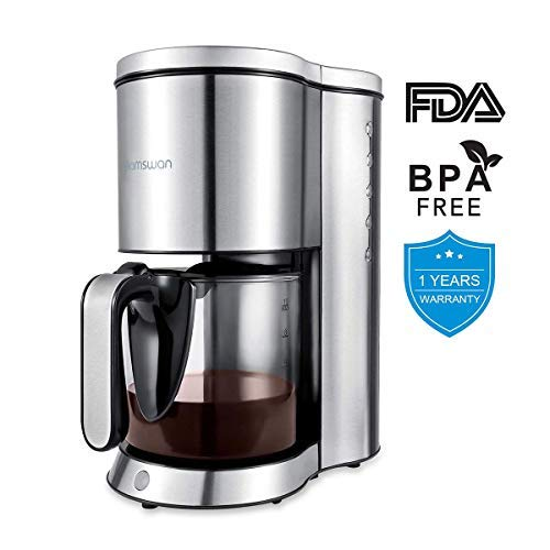 HAMSWAN Drip Coffee Maker, AD-103 Coffee Maker Coffee Pot, Small 10 Cup Coffee Machine with Glass Thermal Carafe, Insulated, Keep Warm, Automatic Shut Off for Single Serve & House Use?