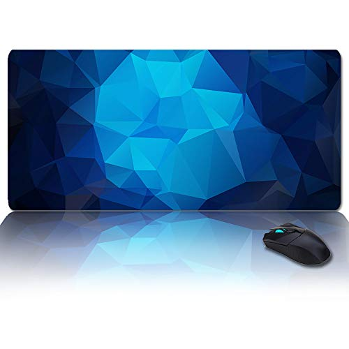 Large Mouse Pad Desk Mat 35x15 in Oversized RGB Soft Gaming Mousepad, Custom Cool 3D Geometric Blue Pattern XXL Cool Keyboard Pad for Gamer, Office & Home