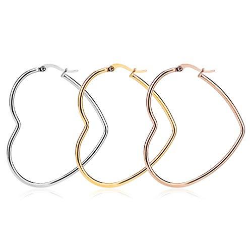Girl Heart Shaped Simple Hoop Earrings Stainless Steel Big Earrings For Women 50mm Silver
