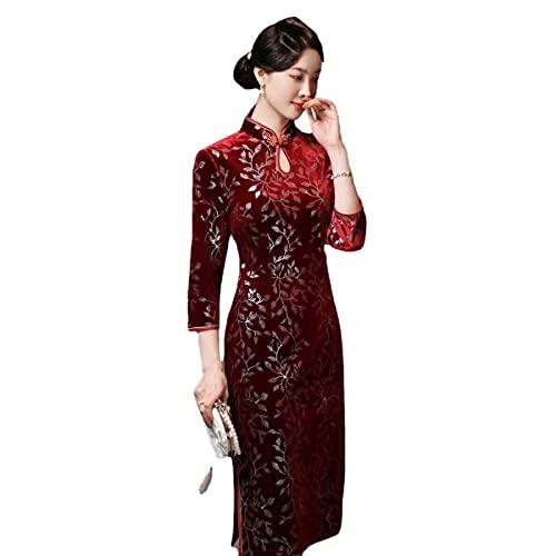 OIKJOKG Frauen Qipao Abendkleid, chinesische Qipao Klassische Frauen Satin Cheongsam Orientalische Braut Brautkleider 2021 Neue Abend Party Kleid Cocktailkleid (Color : Burgundy, Size : L)