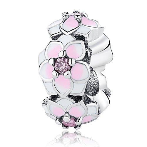 Magnolia Bloom - Espaciador para pulsera, de esmalte de color rojo cereza pálido, circonita cúbica rosa y plata de ley 925, compatible con y otras pulseras de abalorios europeas