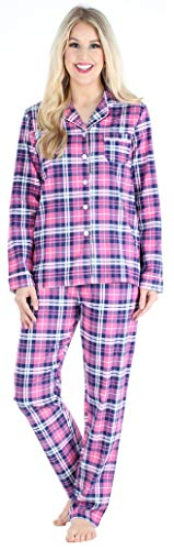 PajamaMania Women's Cotton Flannel Long Sleeve Button-Down...