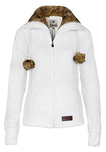 Sublevel Damen Teddy Fleecejacke mit Fell Kragen und Bommeln | Warme Flauschjacke mit weitem Kragen, Größe:S, Farbe:White