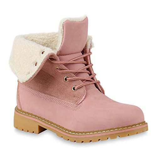 Warm Gefütterte Worker Boots Damen Schuhe Stiefeletten Profilsohle 147388 Rosa 36 Flandell