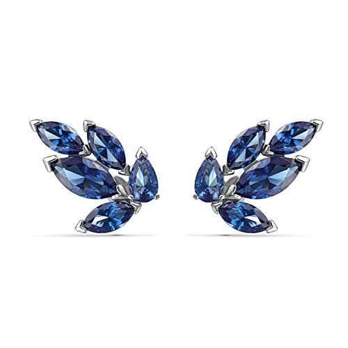 Swarovski Louison Stud Pierced Earrings with Sparkling Blue Petal-Shaped Crystals on Rhodium Plated Metal, Part of Swarovski's Louison Collection