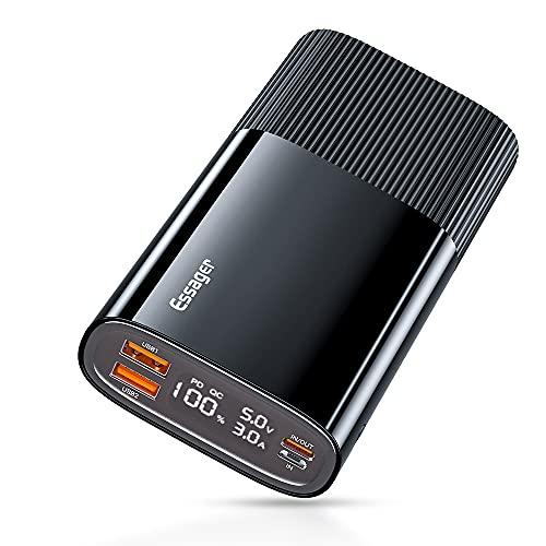 ESSAGER Power Bank, 20000mAh 18W Cargador portátil con Carga rápida, USB C PD QC 3.0 PowerBank,bateria Externa movil Compatible con Varios Tipos de teléfonos Inteligente. (Negro)