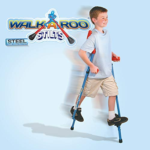 Geospace Original Walkaroo Steel Stilts by Air Kicks with Ergonomic Design for Easy Balance Walking, Assorted Colors (Blue or Red)