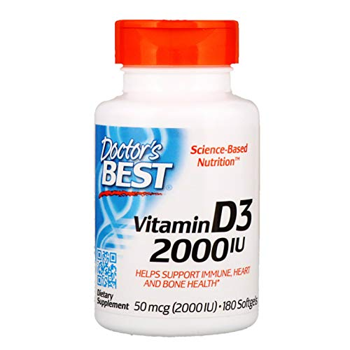 Doctor's Best, Vitamin D3, 2.000 I.U ( 50 ug ), Two-Day-Dose, 180 Softgels, soy-free, gluten-free