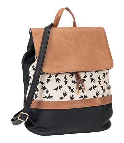 SIX Damen Rucksack aus schwarzem und braunem Kunstleder, Beiger Stoff mit Vogelprint, Knotenverschluss mit goldenen Details, Verspieltes Design (539-030)