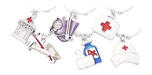 Medical Themed Enamel Wine Glass Charms