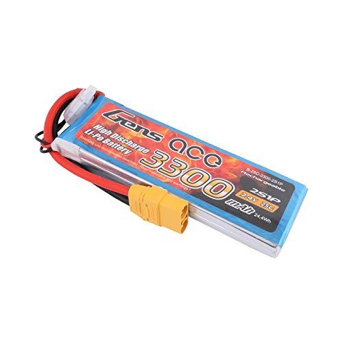 Gens ace Batterie Lipo 3300 mAh 7,4 V 25C 2S1P avec fiche Deans T pour modélisme RC Car Heli Plane Boat Truck FPV Voiture hélicoptère Avion comme Traxxas Slash, E-REVO, RUSTLER et Caster