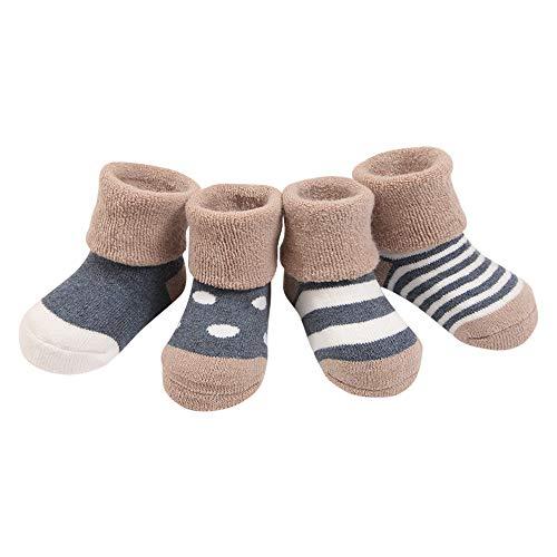 ANIMQUE Baby Winter Socken Dicke Warm 1-3 Jahre Kleinkind Söckchen Jungen Mädchen Baumwolle Wintersocken 4er Pack Marineblau, M