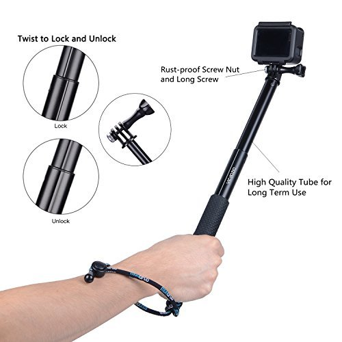 Vicdozia 28.5'' Extension Stick Hand Grip Extendable Monopod Adjustable Pole Waterproof Handle Compatible with Hero 8 7 6 5 4 Session, SJCAM AKASO Xiaomi Yi and More Compact Cameras Cell Phones