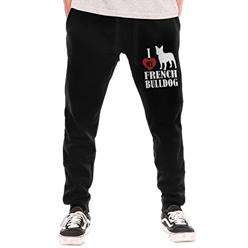 I Love My French Bulldog Men's Jogger Lounge Sleep Sweatpants Pajamas Black