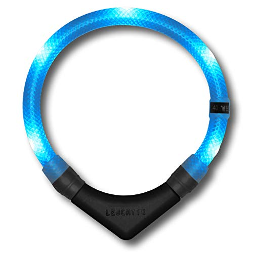 LEUCHTIE® Leuchthalsband Premium eisblau Größe 40 I LED Halsband für Hunde I konstante Leuchtkraft I wasserdicht I extrem hell