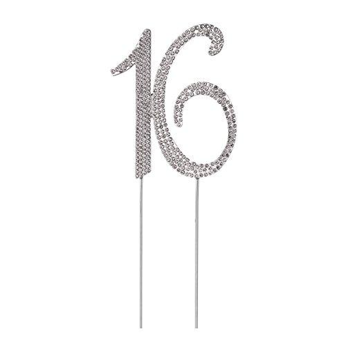STOBOK Kuchen Topper Strass 16 Zahl Kuchendeckel Kuchendekoration für 16. Jahrestag Geburtstag Party Zubehör (Silber)